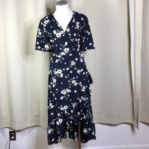 nasty gal Lucy Wang floral ruffle wrap dress large